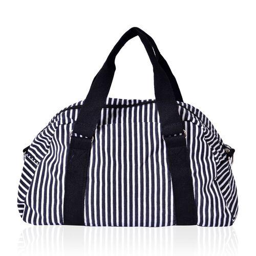 Black and White Colour Stripe Pattern Waterproof Sport Bag with External Zipper Pocket (Size 38x25x14 Cm)