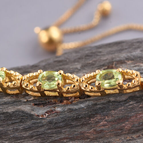 Hebei Peridot (Ovl) Adjustable Bracelet (Size 6.50 To 8) in 14K Gold Overlay Sterling Silver 1.000 Ct.