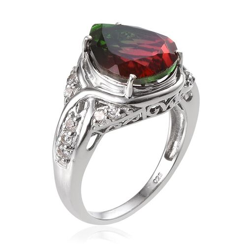 Tourmaline Colour Quartz (Pear 6.25 Ct), White Topaz Ring in Platinum Overlay Sterling Silver 6.750 Ct.