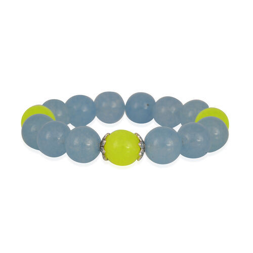 Dyed Aqua and Yellow Colour Quartzite (Rnd) Stretchable Bracelet (Size 6.5) 171.350 Ct.