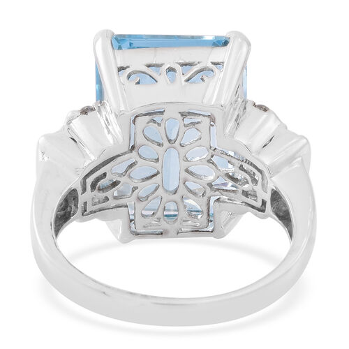 Premium Size AAA Electric Swiss Blue Topaz (Oct 20.25 Ct), Natural Cambodian Zircon Ring in Rhodium Plated Sterling Silver 21.000 Ct.