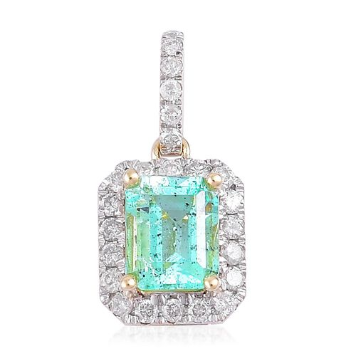 9K Yellow Gold 1.50 Carat AA Boyaca Colombian Emerald (Oct), Diamond (I3/G-H) Pendant
