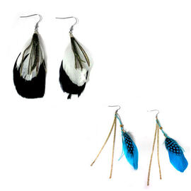 Set of 2 - Feather Hook Earrings in Stainless Steel