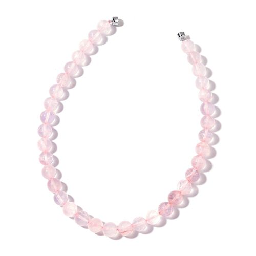 AAA Brazilian Rose Quartz Ball Beads Necklace (Size 20) with Magnetic Clasp in Rhodium Plated Sterling Silver 668.500 Ct.