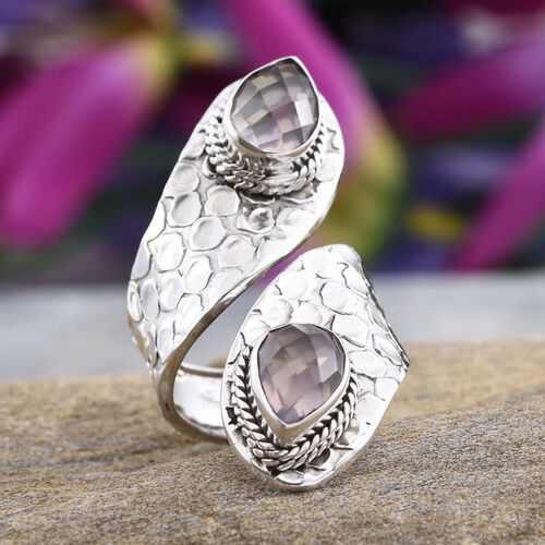 Checkerboard Cut Rose Quartz (Pear) Crossover Ring in Sterling Silver 4.970 Ct.