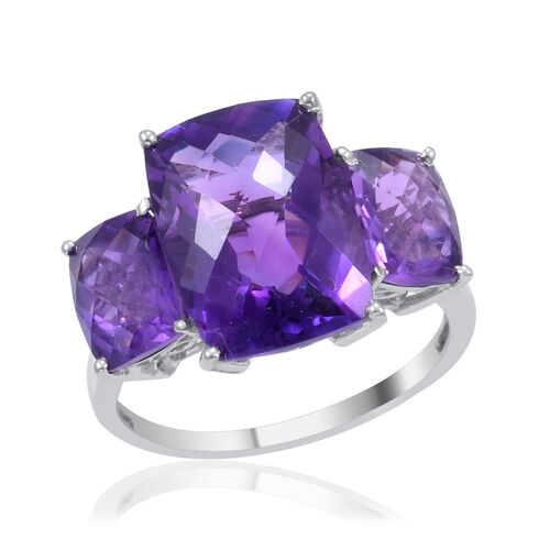 Zambian Amethyst (Cush 6.00 Ct) 3 Stone Ring in Platinum Overlay Sterling Silver 8.500 Ct.