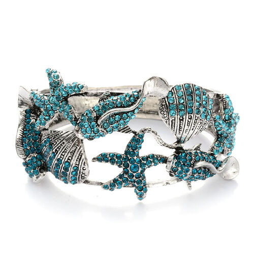 Blue and Black Austrian Crystal Bangle in Silver Tone (Size 7.5)