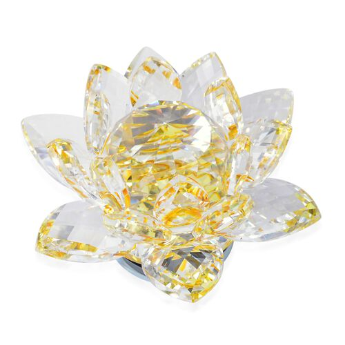 Home Decor - AAA Yellow Austrian Crystal and Faceted Glass Rotating Lotus Flower (Size 14X5 Cm)