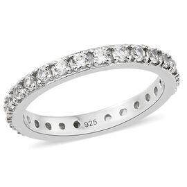 1.25 Ct Natural Cambodian Zircon Full Eternity Ring in Platinum Plated Silver