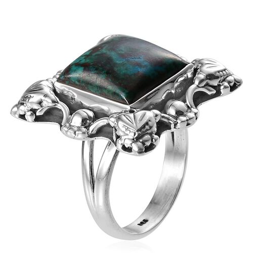 Jewels of India Table Mountain Shadowkite (Cush) Solitaire Ring in Sterling Silver 9.950 Ct.