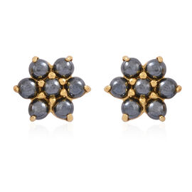 100% Natural Hematite (Rnd) Floral Stud Earrings (with Push Back) in 14K Gold Overlay Sterling Silver 3.500 Ct.