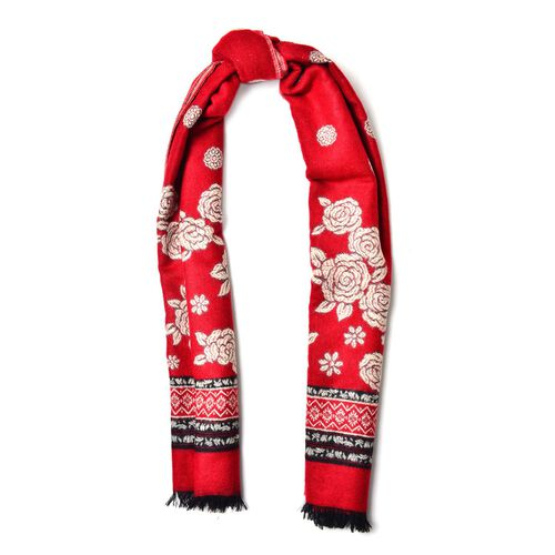Close Out- Designer Inspired Red and White Colour Floral Pattern Reversible Scarf with Fringes (Size 180x65 Cm)