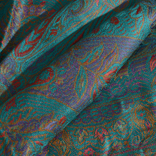 Silk Mark - 100% Super Fine Silk Purple, Yellow, Orange and Multi Colour Floral and Paisley Pattern Jacquard Jamawar Marine Green Colour Scarf with Fringes (Size 180x70 Cm) (Weight 125 - 140 Gms)