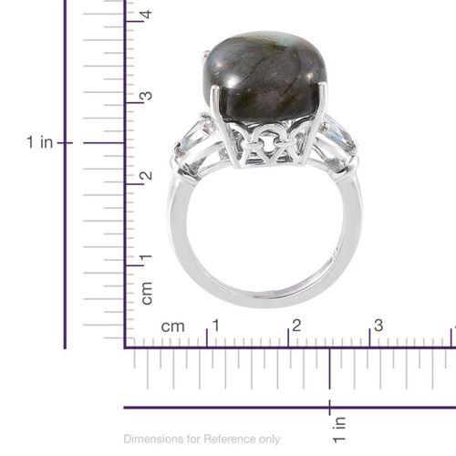 Labradorite (Ovl 12.75 Ct), Sky Blue Topaz Ring in Platinum Overlay Sterling Silver 13.750 Ct.