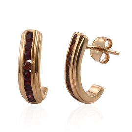 Mahenge Spinel (Rnd) J Hoop Earrings (with Push Back) in 14K Gold Overlay Sterling Silver 0.750 Ct.