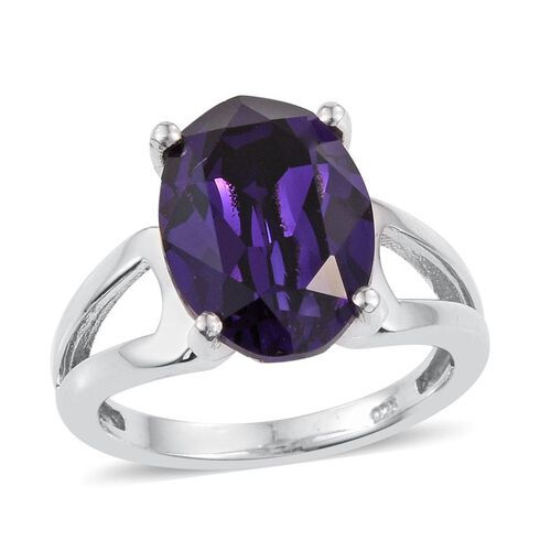 Crystal from Swarovski - Purple Velvet Crystal (Ovl) Solitaire Ring in Platinum Overlay Sterling Silver
