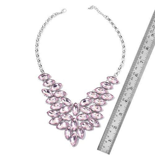 AAA Simulated Pink Sapphire Waterfall Cascade Necklace (Size 20 with 2 inch Extender) in Silver Tone