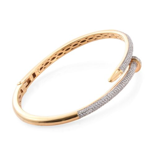 J Francis - 14K Gold Overlay Sterling Silver (Rnd) Nail Bangle (Size 7.5) Made with SWAROVSKI ZIRCONIA Number of Gemstones 253 PCS. Silver wt. 18.61 Gms.