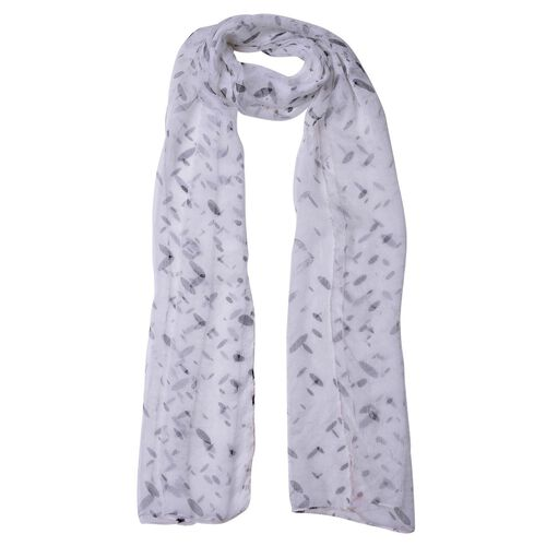 100% Mulberry Silk White and Black Colour Printed Scarf (Size 180X50 Cm)