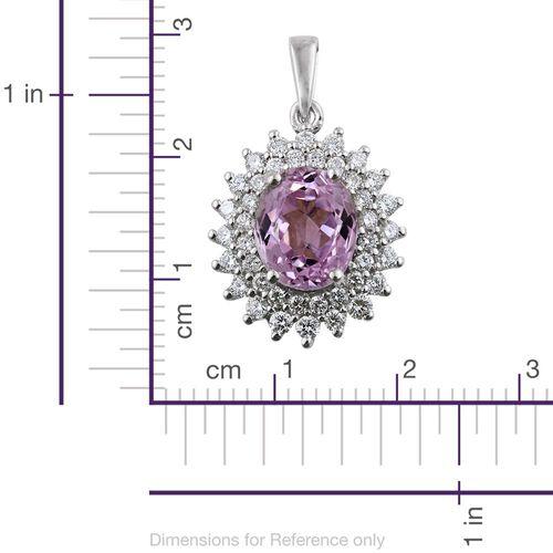 ILIANA 18K W Gold AAAA Brazilian Kunzite (Ovl 3.55 Ct), Diamond (SI/G-H) Pendant 4.250 Ct.