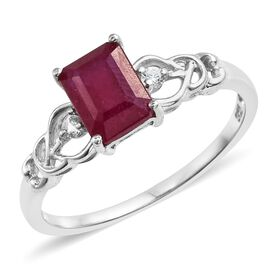 African Ruby (Oct 2.15 Ct), Natural Cambodian Zircon Ring in Platinum Overlay Sterling Silver 2.250 Ct.