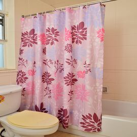 Multi Colour Floral Pattern Pink Colour Waterproof Shower Curtain with 12 Hooks (Size 180X180 Cm)