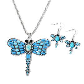 Simulated Sleeping Beauty Turquoise, Simulated Blue Howlite, Blue and Black Austrian Crystal Dragonfly Pendant With Chain (Size 28) and Hook Earrings in Silver Tone