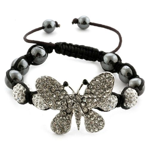Creature Couture - Shamballa Friendship Black, White Austrian Crystal and Hematite Admiral Butterfly Bracelet (Adjustable)  70.002  Ct.