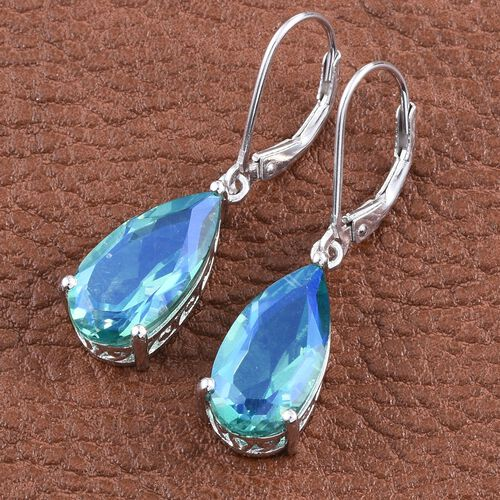 Peacock Quartz (Pear) Lever Back Earrings in Platinum Overlay Sterling Silver 10.000 Ct.
