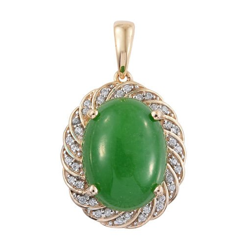 Limited Available-9K Yellow Gold Green Jade (Ovl 9.75 Ct), Natural Cambodian Zircon Pendant 10.000 Ct.