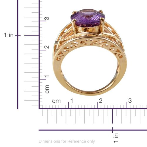 Concave Cut Amethyst (Ovl) Solitaire Ring in 14K Gold Overlay Sterling Silver 5.000 Ct.