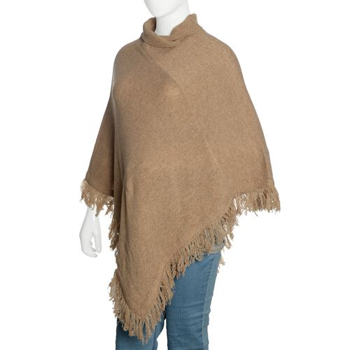 100% Australian Lamb Wool Beige Colour Knitted Poncho with Fringes (Free Size)