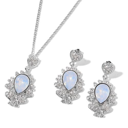 Simulated White Moonstone and White Austrian Crystal Necklace (Size 20 with 3 inch Extender) and Earrings (with Push Back) in Silver Tone