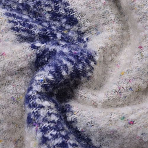 New Season - Off White, Navy and Multi Colour Knitted Shawl with Tassels (Size 200X65 Cm)
