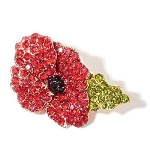 (Option 4) TJC Poppy Design - Multi Colour Austrian Crystal Poppy Flower Brooch in Yellow Gold Tone