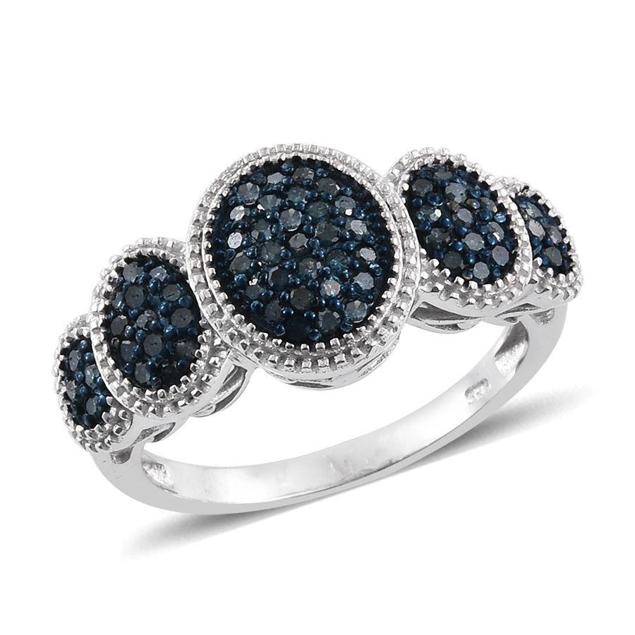 Blue Diamond Platinum: Blue Diamond (Rnd) Ring In Platinum Overlay Sterling