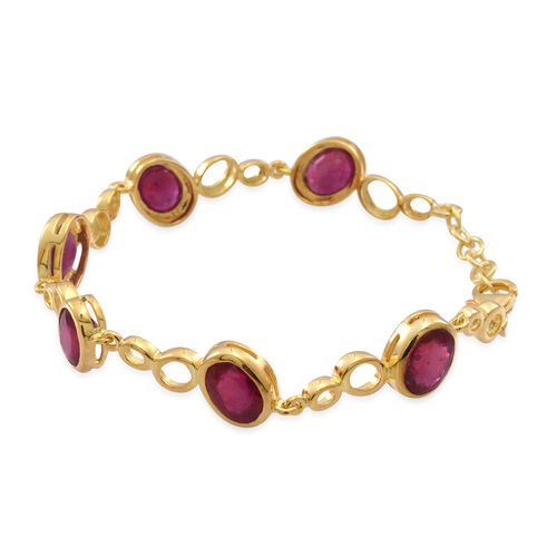 AAA African Ruby (Ovl) Bracelet (Size 7.5 with Extender) in 14K Gold Overlay Sterling Silver 16.500 Ct.