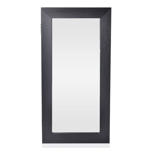 Black Wall Mounted Mirror Wooden Cabinet with Velvet Inside (Size 60X30X9 Cm)