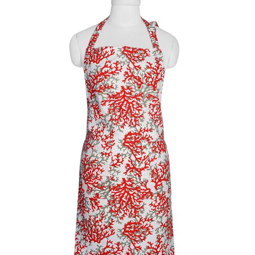 Kitchen Textiles - 100% Cotton Red, Grey and White Colour Tree Branches Printed Apron (75x65 Cm), Glove (32x18 Cm), Pot Holder (20x20 Cm), Kitchen Towel (65x40 Cm) and Bag (45x35 Cm)