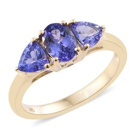 9K Yellow Gold 1.50 Ct AAA Tanzanite Ring