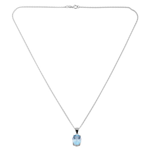 Tucson Collection- Sky Blue Topaz (Ovl 12x10mm) Solitaire Pendant with Chain in Sterling Silver 5.00 Ct.