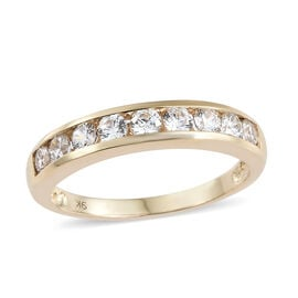 J Francis - 9K Yellow Gold (Rnd) Half Eternity Ring Made with SWAROVSKI ZIRCONIA.Gold Wt 3.00 Gms