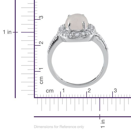 Rainbow Moonstone (Ovl 3.25 Ct), White Topaz Ring in Platinum Overlay Sterling Silver 4.100 Ct.