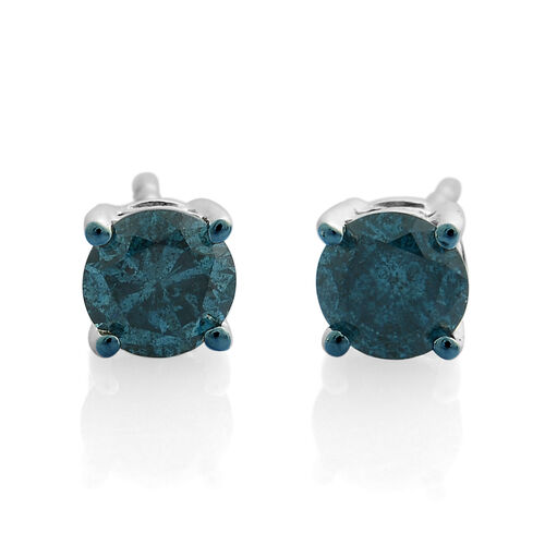9K White Gold 1 Ct Blue Diamond Stud Earrings (with Push Back) SGL Certified