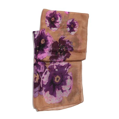 100% Mulberry Silk Purple and Pink Colour Floral Pattern Light Chocolate Colour Scarf (Size 175x50 Cm)