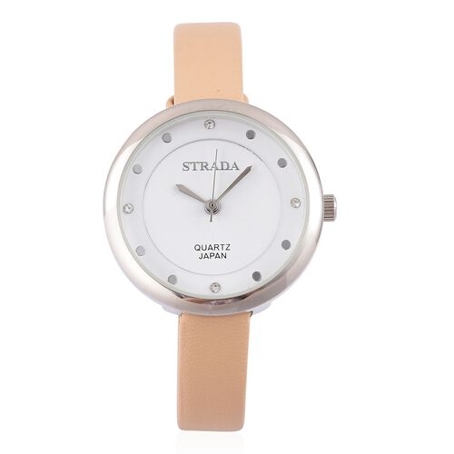 STRADA Japanese Movement White Austrian Crystal Watch with Stainless Steel Back and Beige Colour Strap
