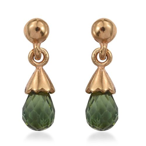 Checkerboard Cut Green Tourmaline Earrings (with Push Back) in 14K Gold Overlay Sterling Silver 1.250 Ct.