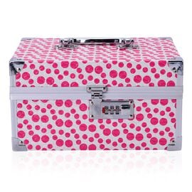 Pink Dot Pattern 2 Layer Jewellery Box with Coded Lock and Mirror inside (Size 25x14 Cm)