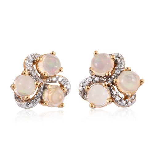 Ethiopian Welo Opal (Rnd), Natural Cambodian Zircon Stud Earrings (with Push Back) in 14K Gold Overlay Sterling Silver 0.850 Ct.