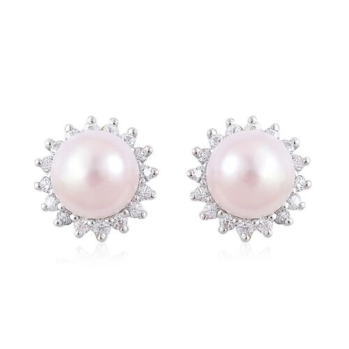 9K W Gold Japanese Akoya Pearl (Rnd 6.40mm), White Sapphire Stud Earrings (with Push Back)